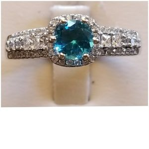3cts Aquamarine and White Sapphires Ring Size 8